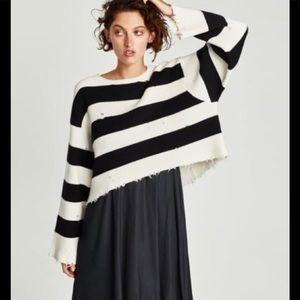Zara stripe crop distressed sweater